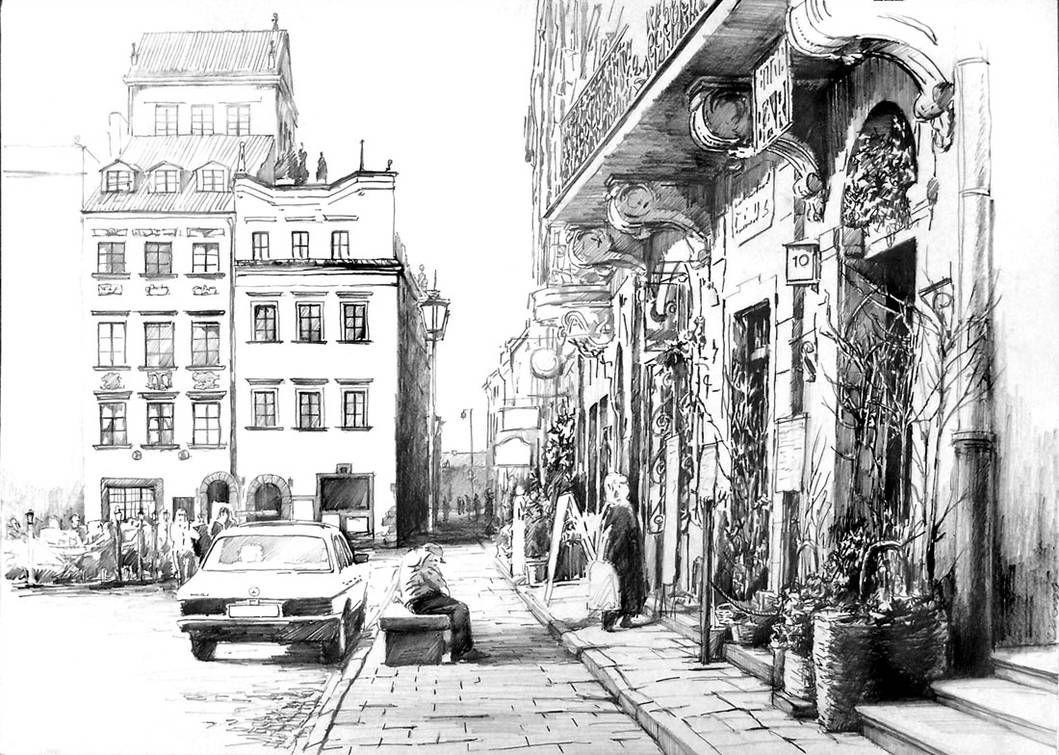 несколько картинки про город карандашом это
