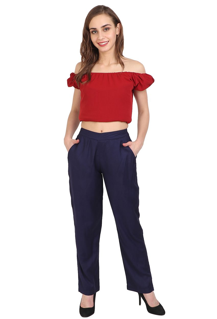 Blue Rayon Palazzo Pant Trousers For Girls Pants Trouser Pants