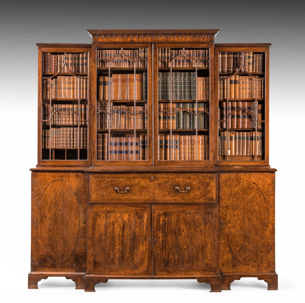 George Iii Period Mahogany Breakfront Bookcase The Doors With