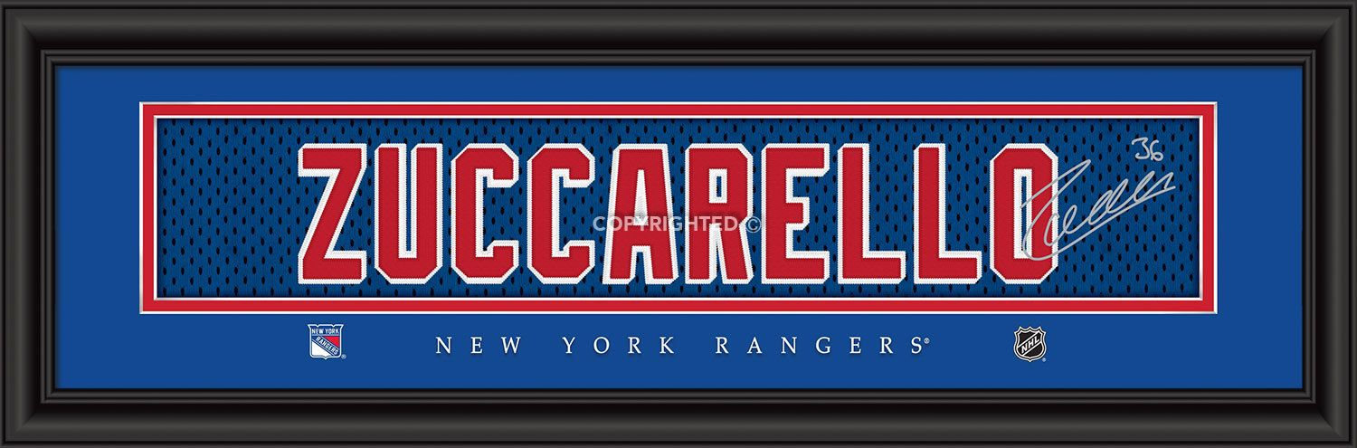 Mats Zuccarello New York Rangers Player Signature Stitched Jersey Framed Print