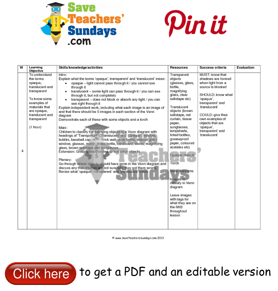 Transparent Translucent Or Opaque Lesson Plan Go To Httpwww