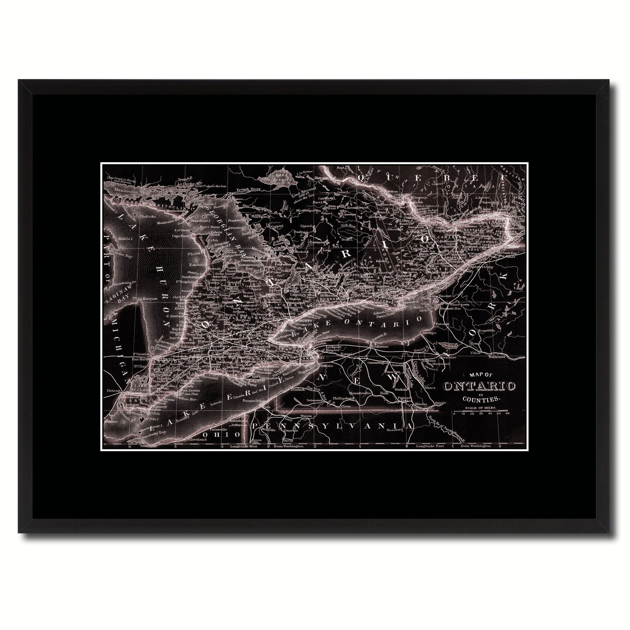 Houston Map Framed%0A Ontario Canada Vintage Vivid Sepia Map Canvas Print  Picture Frames Home  Decor Wall Art Decoration