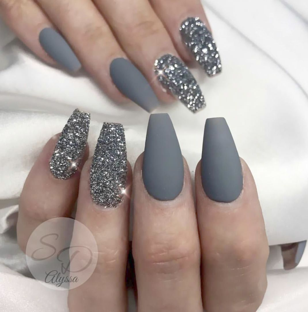 Home Blend Of Bites Matte Nails Glitter Homecoming Nails Prom Nails