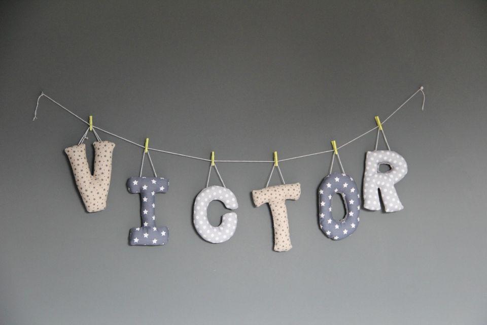 guirlande prenom victor couture pinterest babies diy baby and craft. Black Bedroom Furniture Sets. Home Design Ideas