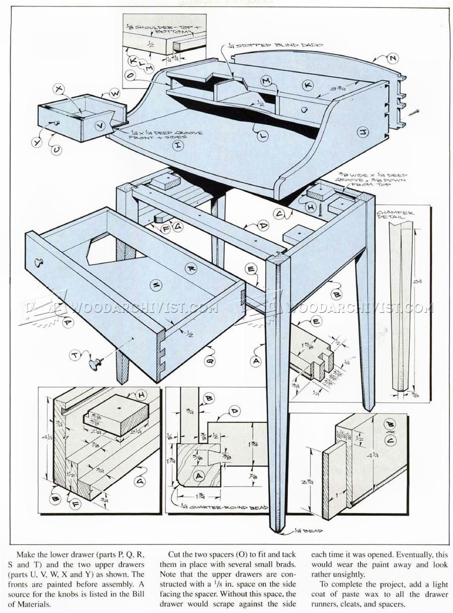 2658 writing desk plans - furniture plans   desk plans   desk plans