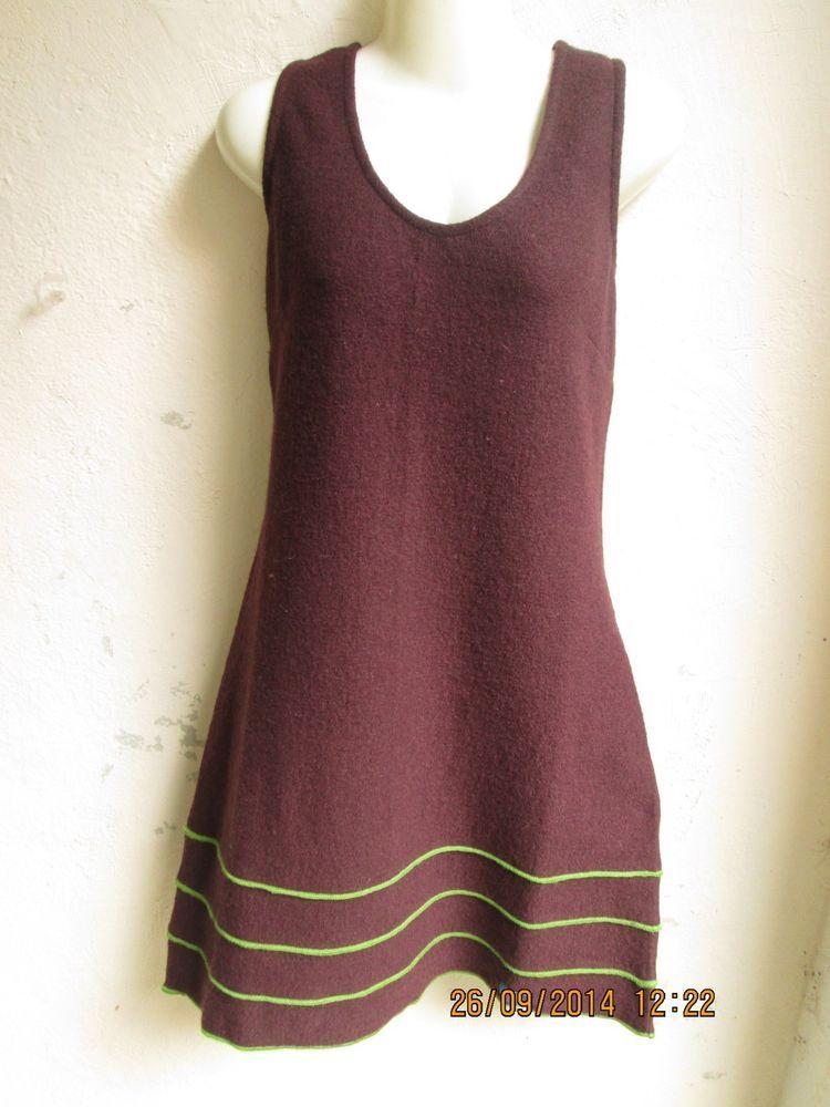 469f998ee256f1 chapati Kleid gefilzt Tunika Wolle Filzwolle Schurwolle Wollkleid L XL braun  in Kleidung & Accessoires,
