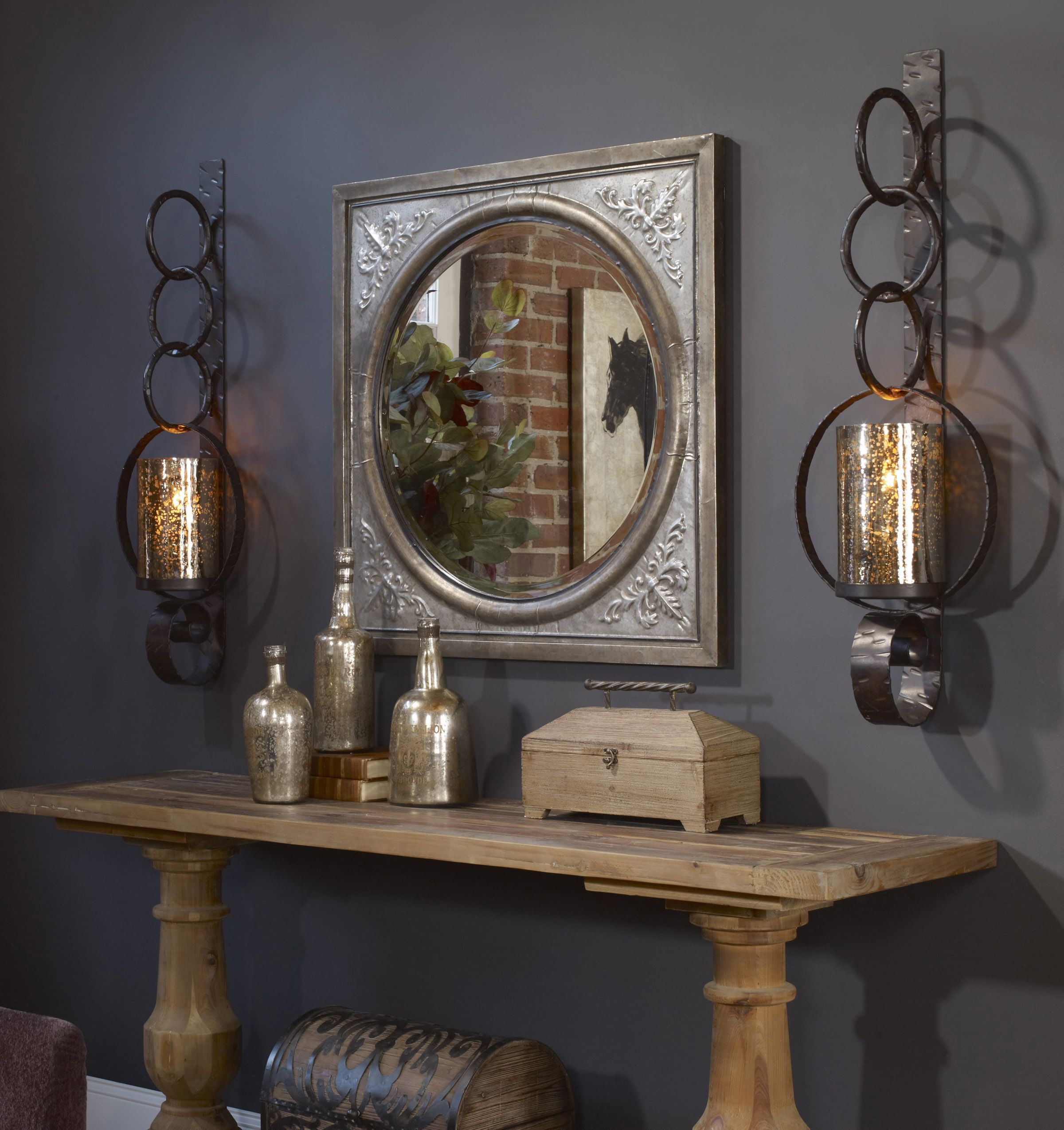 Glass console table with mirror uttermost ireneus burnished silver mirror  candle sconces