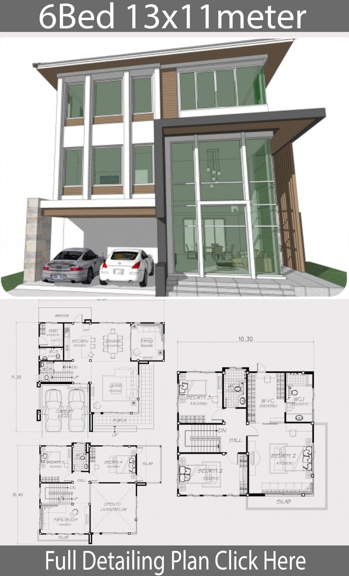 Home Design Plan 13x11m With 6 Bedrooms Home Design With Plansearch Home Building Design House Floor Design Home Design Plan