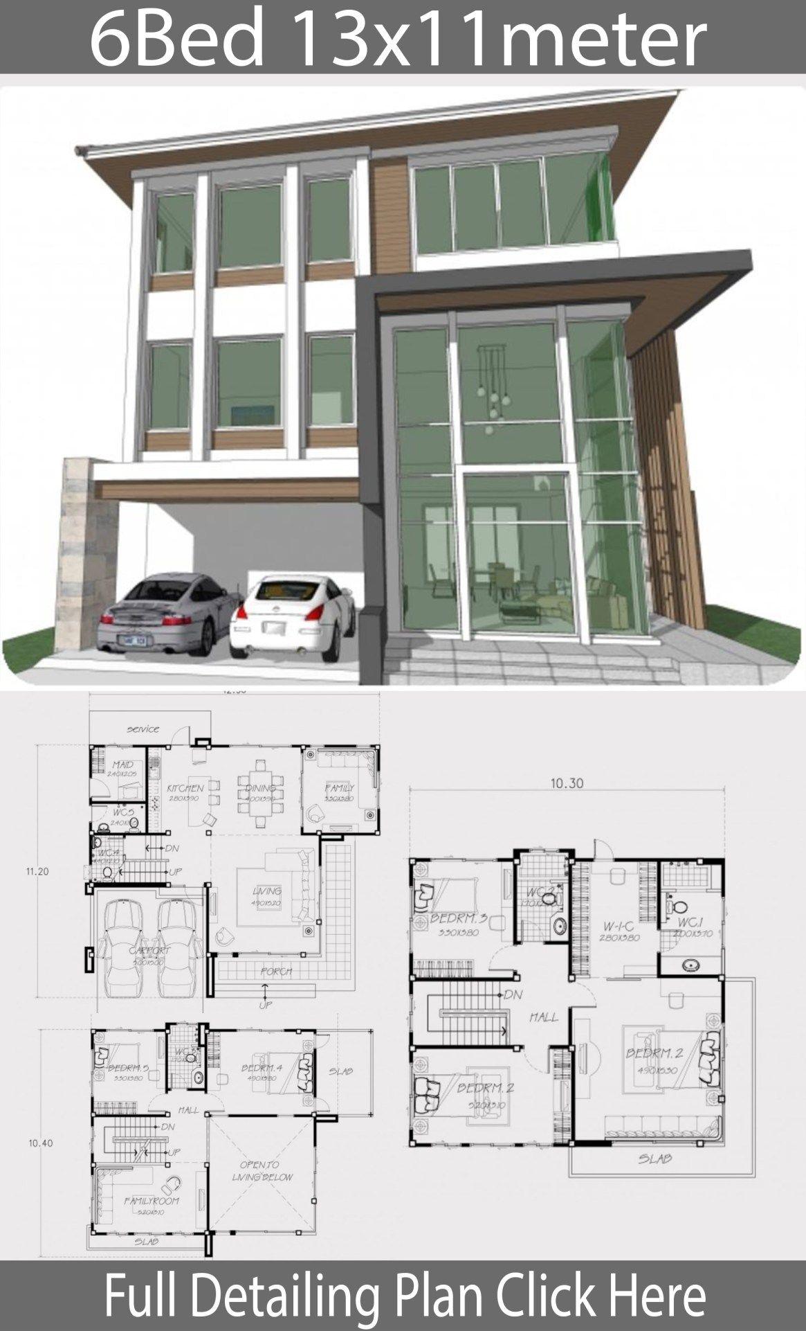 Home Design Plan 13x11m With 6 Bedrooms Home Design With Plansearch Home Building Design Home Design Plan House Floor Design