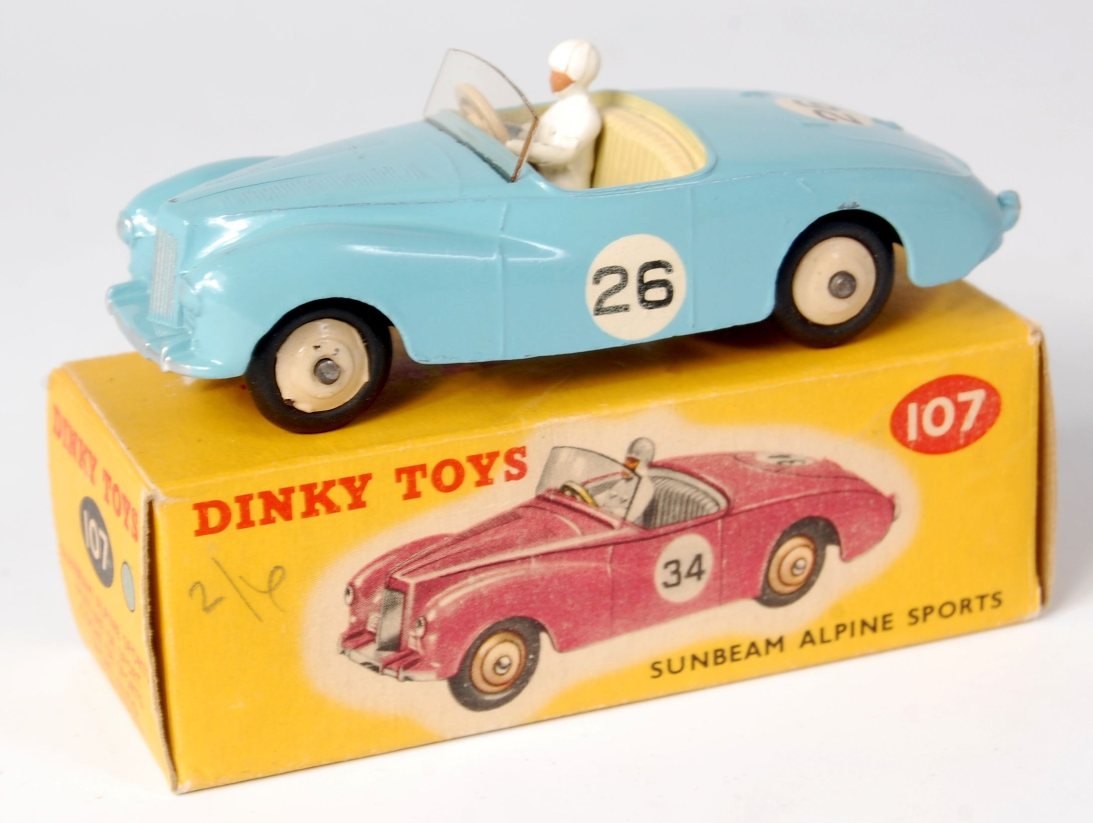 Lot 1918 - Dinky, 107 Sunbeam Alpine, pale blue, cream interior RN26, tiny chip on driver, box with correct