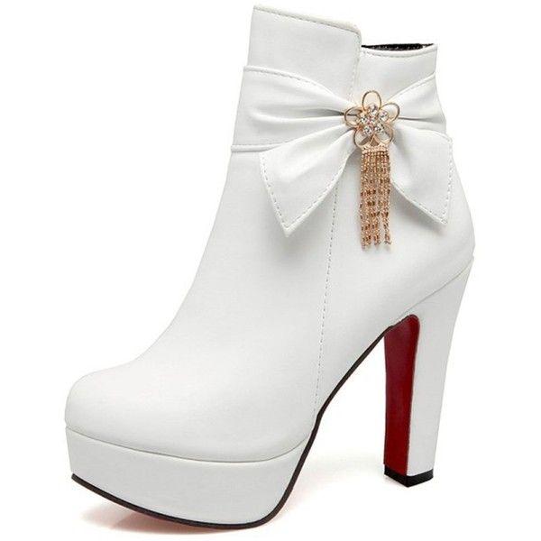Women's Sexy Platform High Block Heel Pointed Toe Zip Up Booties With Bowknots