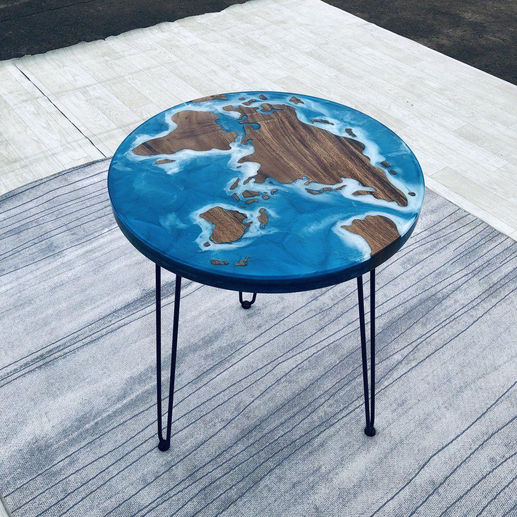 Island Beach Ocea Sea Design Epoxy Resin Coffee Table Round