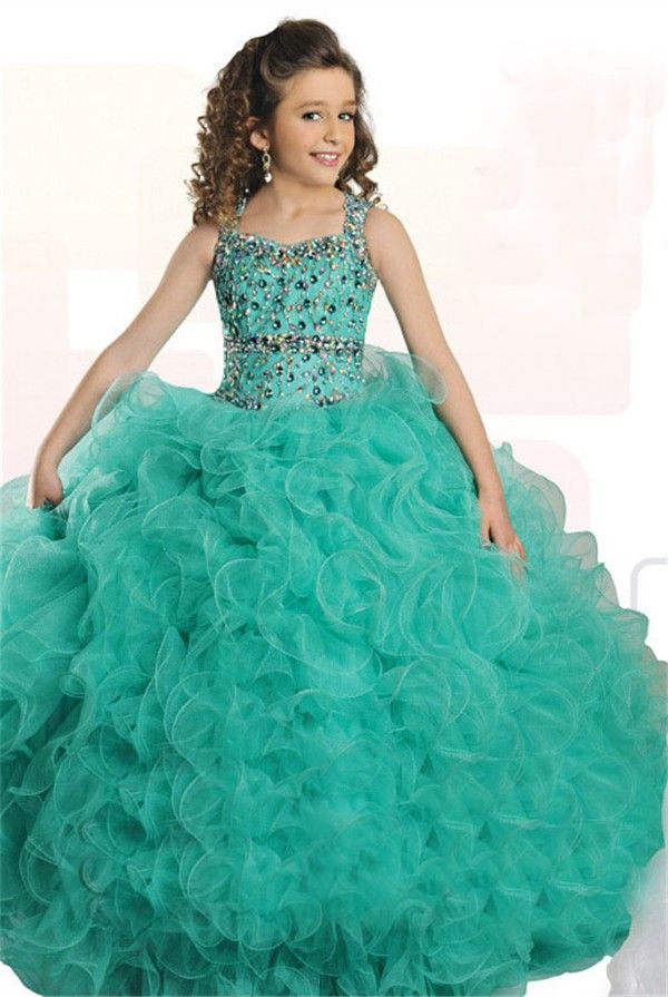Ball Gown Mint Green Tulle Ruffle Beaded Girl Pageant Prom Dress ...