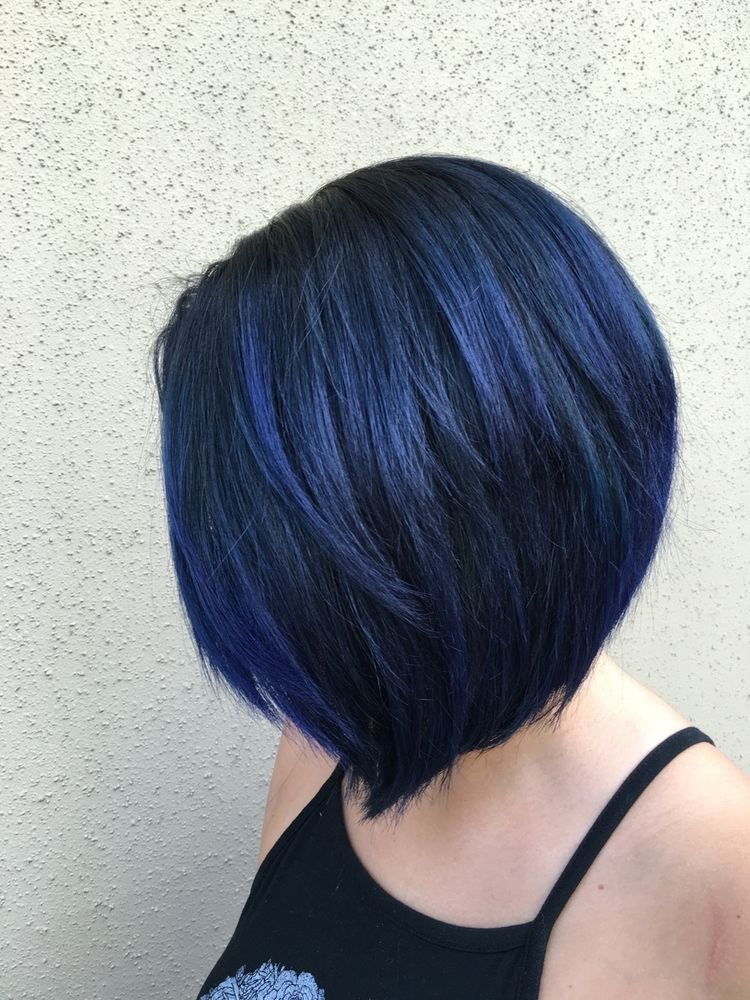 Blue Black Bob Hair Styles Short Blue Hair Hair Color Blue