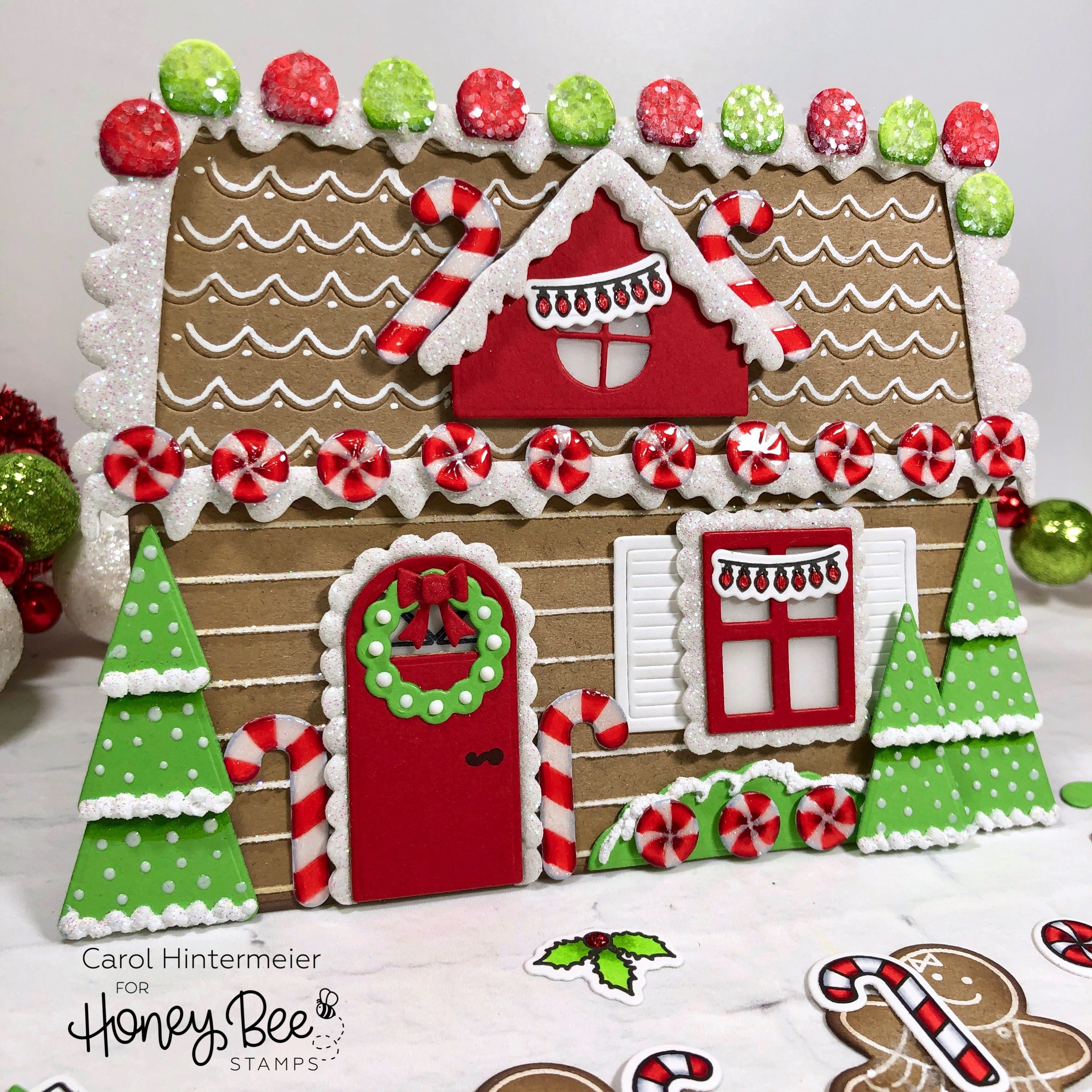 Gingerbread House Card Honey Bee Stamps Honey Bee Stamps Christmas Cards Handmade Gingerbread Cards