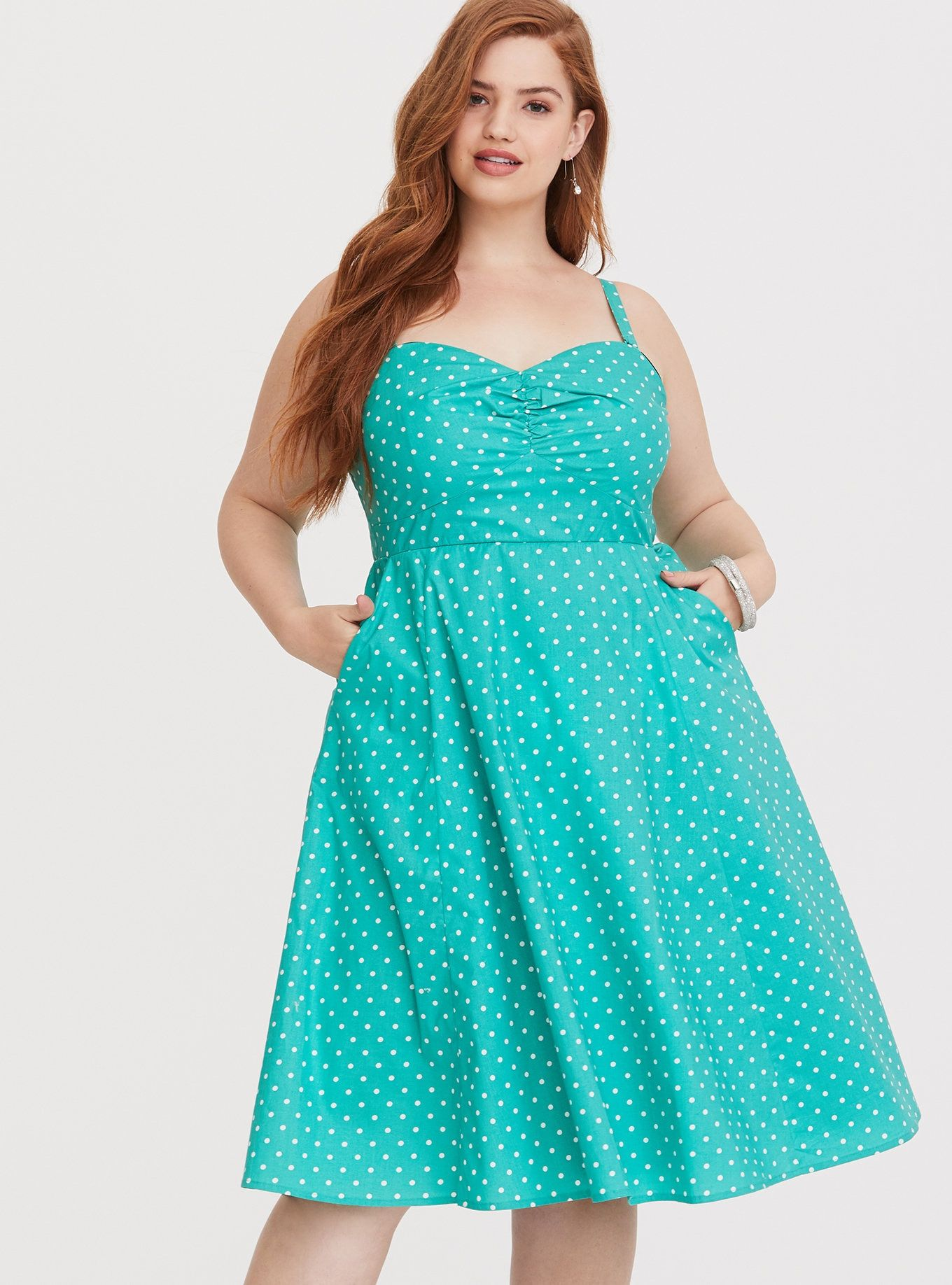 Retro Chic Mint Dotted Skater Dress | Wants | Dresses, Retro ...