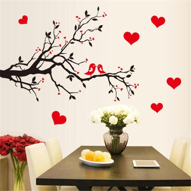 Red Love Heart Wall Stickers Bird Decal Bedroom Living Room Diy Remova Bird Land Wall Stickers Living Room Heart Wall Stickers Wall Decals Living Room
