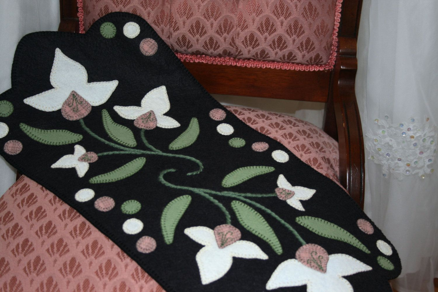Lady Slipper Penny Rug Finished Design by TwistedKnickersInc