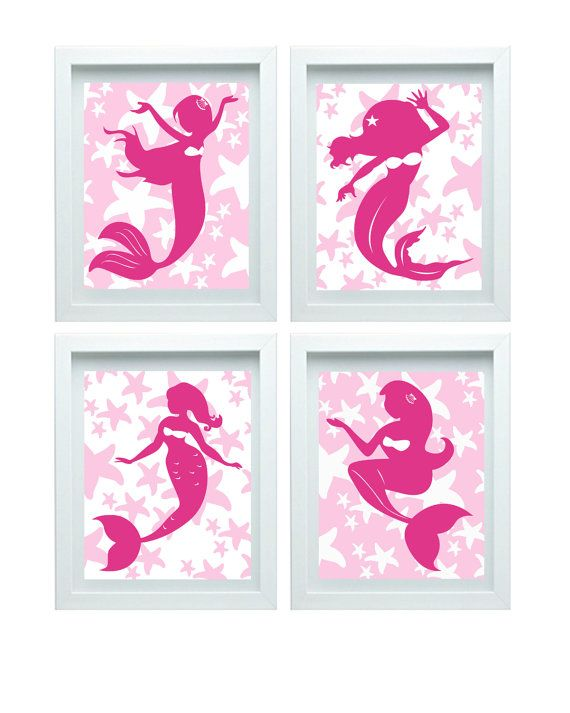 Pink Mermaid Decor, Girl Bathroom Art, Little Mermaid Print, Little Mermaid Decor, Mermaid Nursery Art, Little Mermaid Wall Art