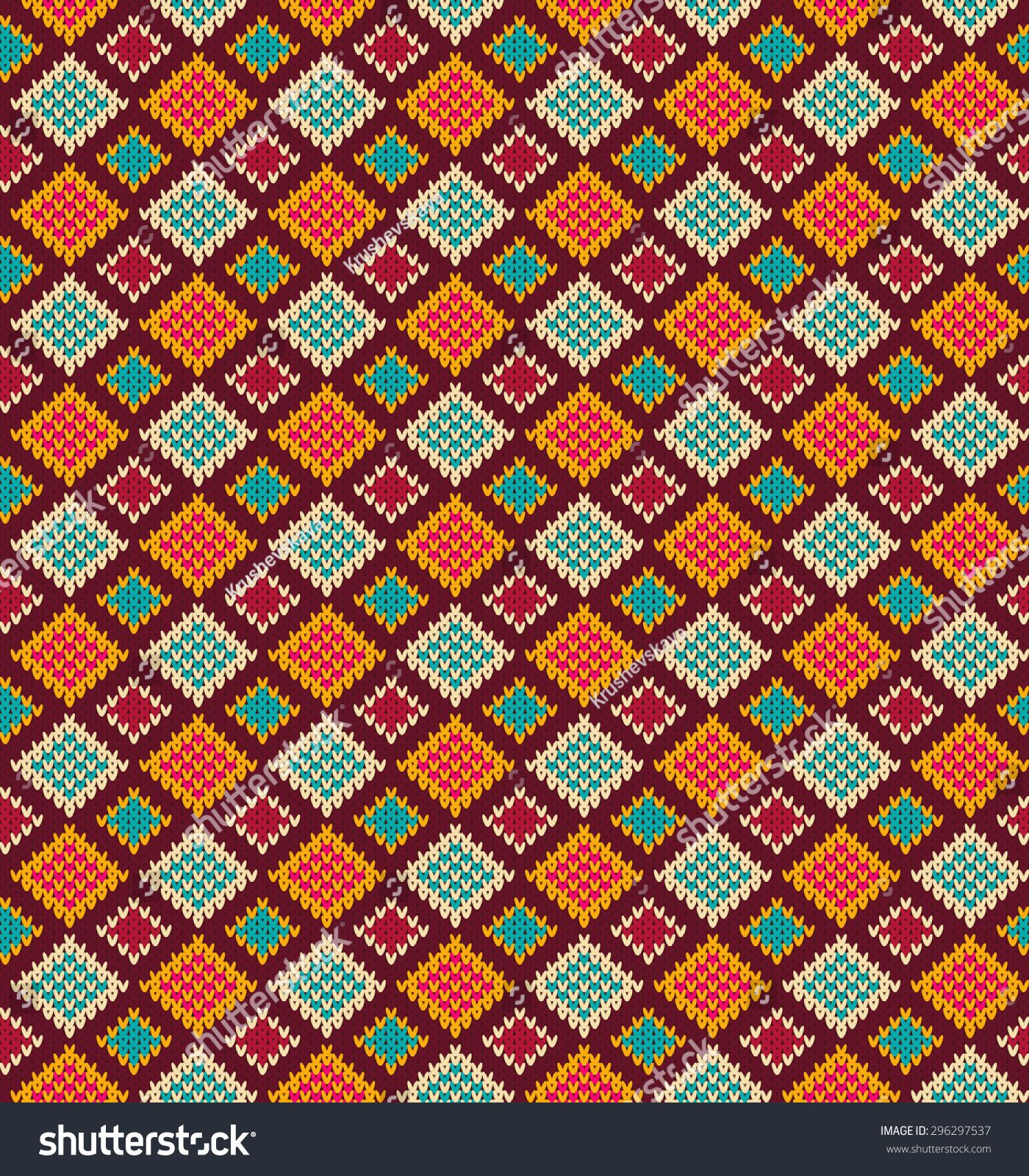 Vector Knitting Seamless Background Geometric Pattern