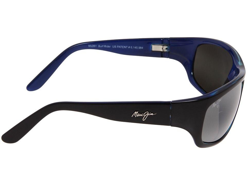 0374fdf153b0 Maui Jim Surf Rider Sport Sunglasses Black w/ Blue Interior/Neutral Grey