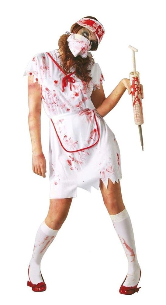 cb6c990049b4f Ladies Zombie Nurse Costume Adult Womens Halloween Party Fancy Dress Outfit  #Papootz #CompleteOutfit