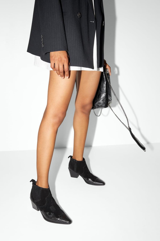 Botki Z Dwoiny Na Obcasie W Stylu Kowbojskim Buty Kobieta Shoes Bags Zara Polska High Heel Boots Ankle Heeled Ankle Boots Leather Heels