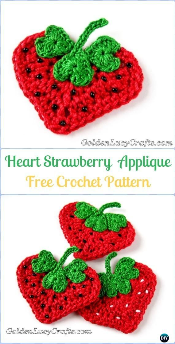Crochet Heart Strawberry Applique Free Pattern Crochet Heart