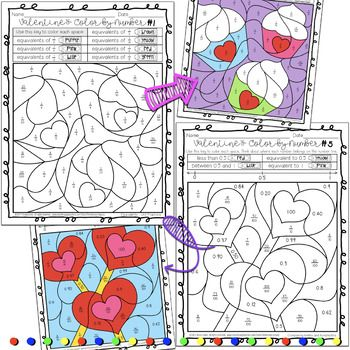 Valentine\'s Day Fractions and Decimals Color by Number Activity Sheets