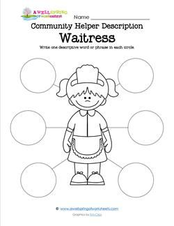 Community Helper Description  Waitress  School Daze Community