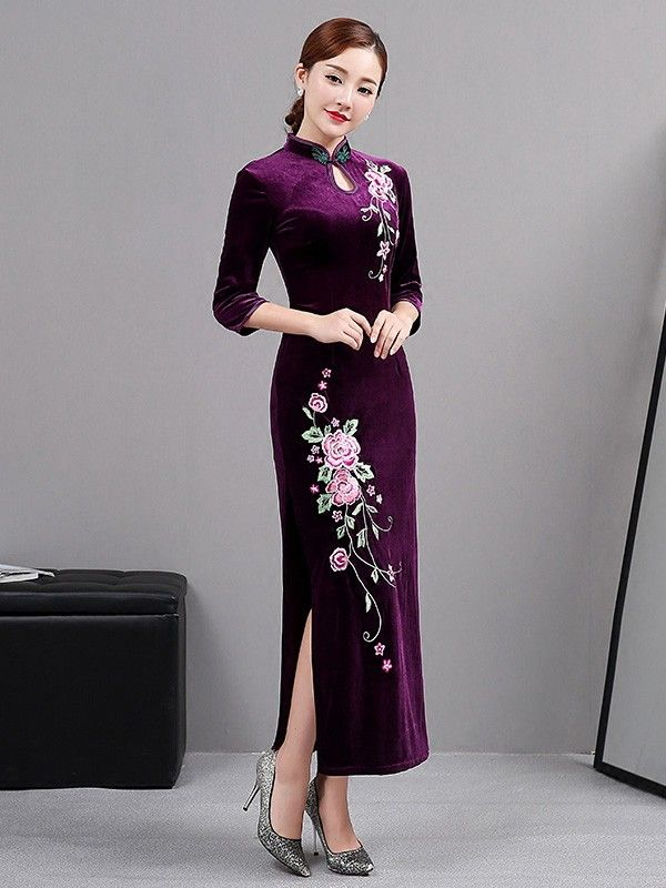 67fa59d21 Purple Embroidered Velvet Qipao / Cheongsam Dress with Long Sleeves ...