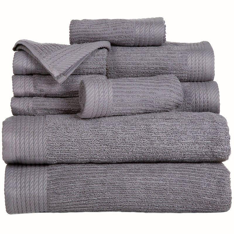 Cambridge Home Ribbed 10 Pc Egyptian Cotton Bath Towel Set
