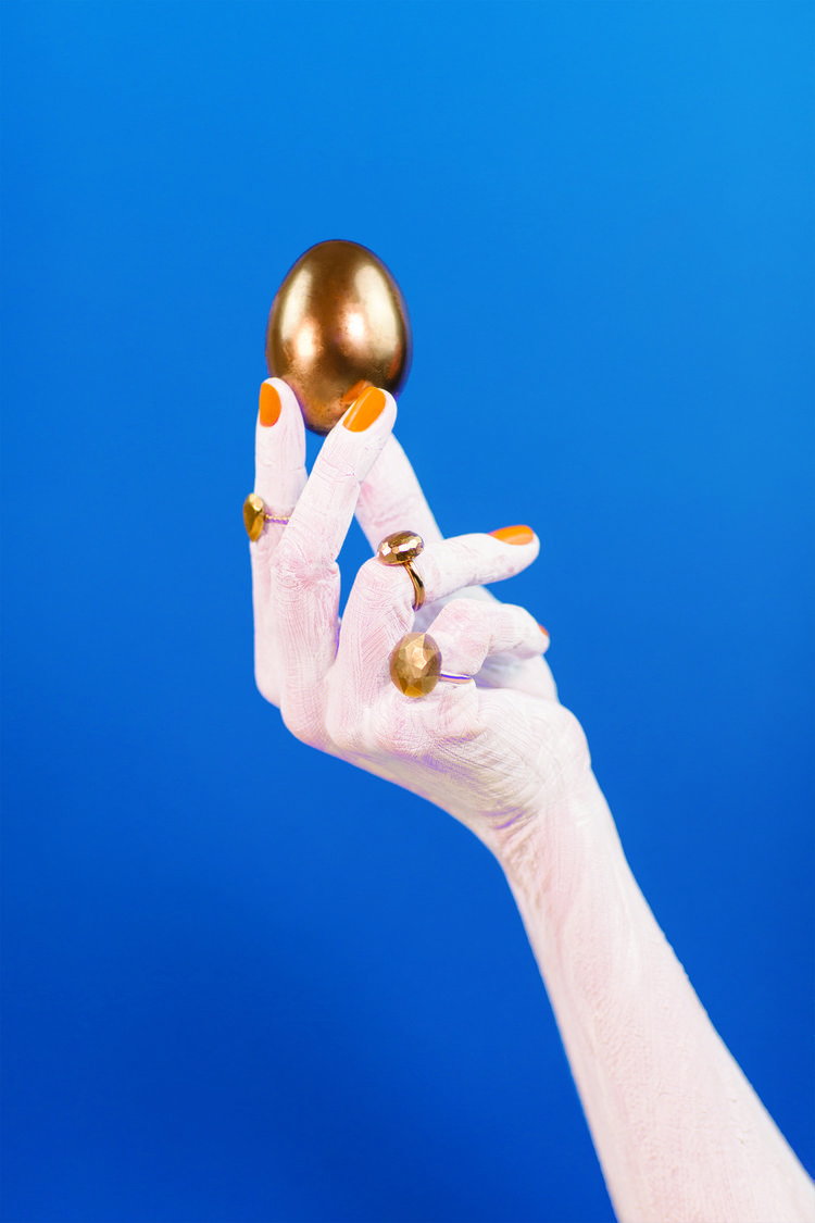 """""""Gold egg"""" By Fless collective  Gold plated silver rings by Margaux Clavel…"""