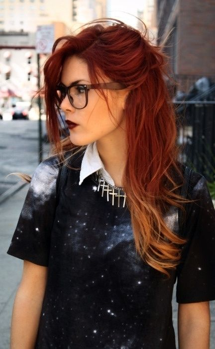 Brown to Red Ombre Hair | LOVE this last look- red into blonde ombre. maybe i'll save this ... #blondeombre