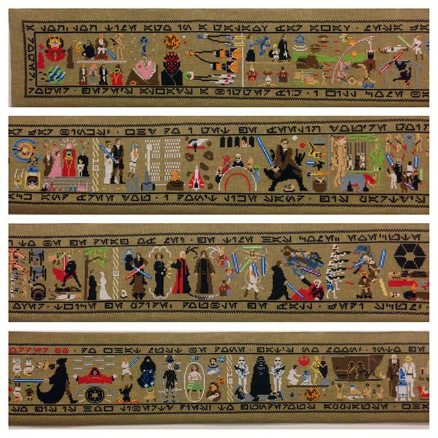 Star Wars saga re-told over 30-foot cross-stitch canvas ... #crossstitch #starwars