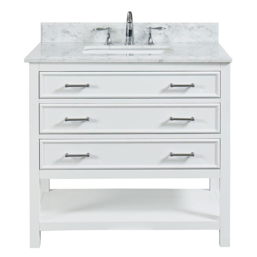 Allen Roth Presnell 37 In Dove White Single Sink Bathroom Vanity With Carrara White Natural Marble Top Lowes Com Bathroom Sink Vanity Single Sink Bathroom Vanity Bathroom Vanity Tops