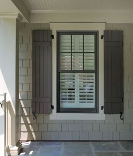 Shutters window and taupe on pinterest chalet for Paint vinyl shutters