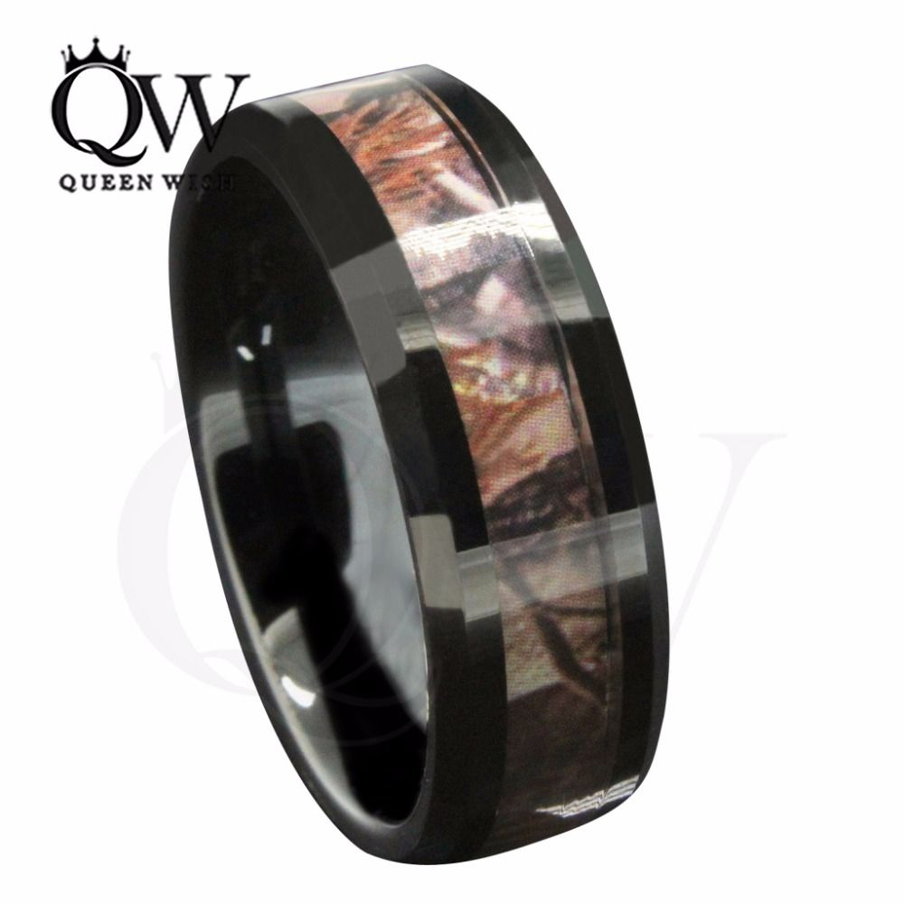 Stunning Ring Mm Black Tungsten Men US Outdoor Hunting Camouflage Wedding