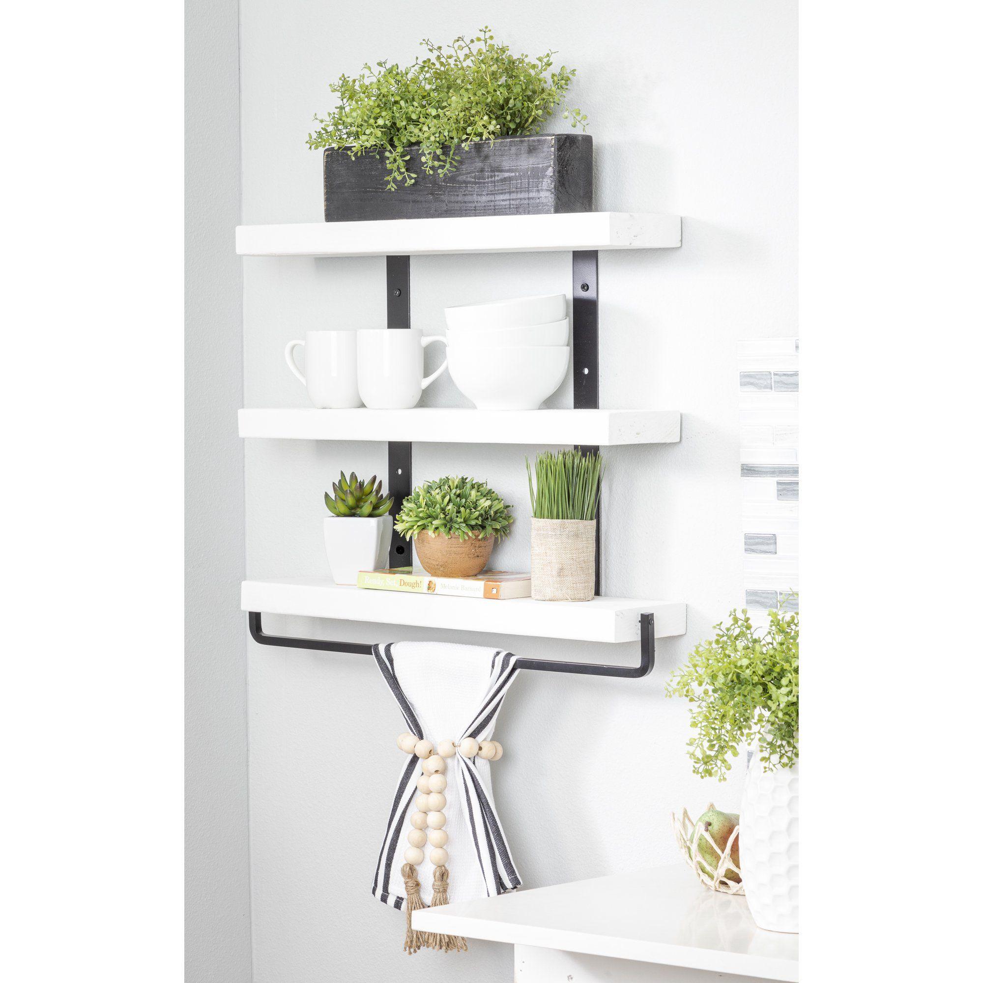 Del Hutson Designs White 24inch Industrial 3 Tier Floating Shelf With Towel Walmart Com In 2021 Bathroom Shelf Decor Floating Shelves Floating Wall Shelves 24 inch white floating shelf
