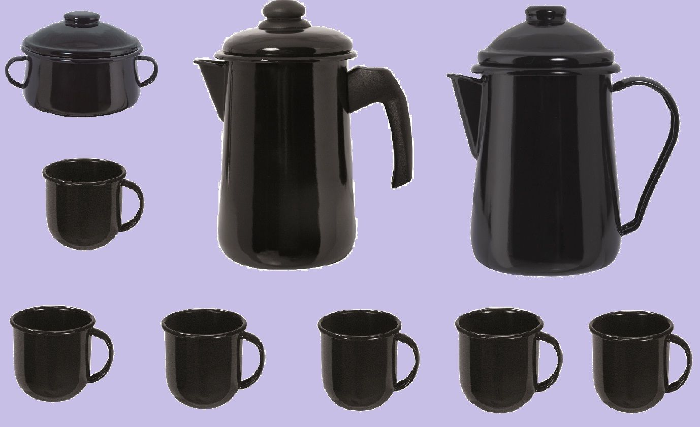 Kit Café - Esmaltados Ewel Preto (6 Xícara  Referência: 11619 - Açucareiro Preto - EWEL   Referência: 11633 - Bule Café Preto - EWEL  Referência: 11645 - 6 Xícaras Pretas – EWEL Referência: 11658 - Leiteira Preta Tradicional- Mãe Agata