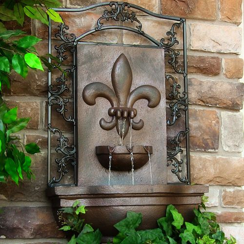 Charmant Solar Wall Mount Water Fountain French Lily Weathered Iron Outdoor Garden  Decor