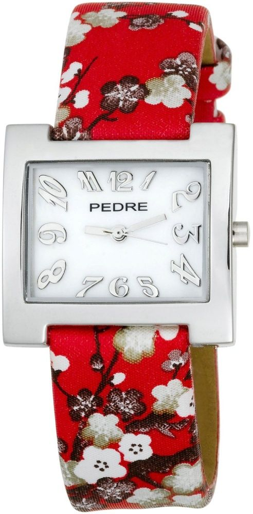 Women's #Fashion #Jewelry: Pedre Women's 6012SX Silver-Tone with #Red #Asian #Floral Strap Watch: #Watches