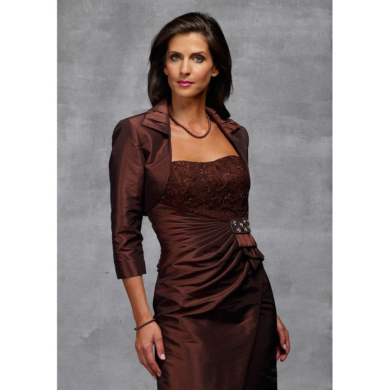 Mother Of Groom Dresses Long Jacket Tea Length Chocolate
