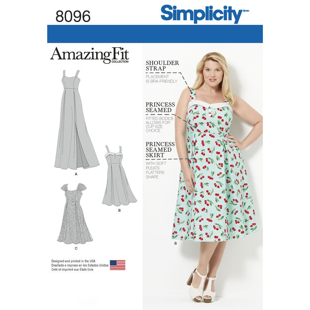 This Plus size dress from Simplicity\'s Amazing Fit collection has ...