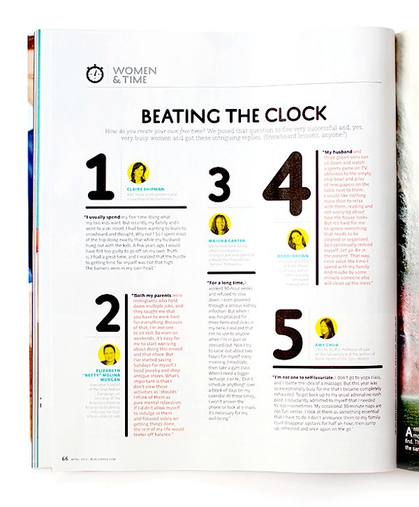 Layout Graphic Design Inspiration: NEW WORK: Real Simple, Women & Time