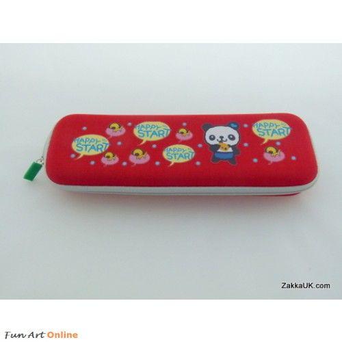 ZakkaUK: Designer Novelty Zipper Pencil Cases Cheerful Cartoon Design - Red Iwako Kawaii Erasers