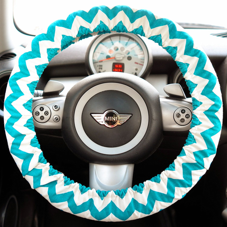 Blue chevron Steering wheel cover, blue flower Aztec