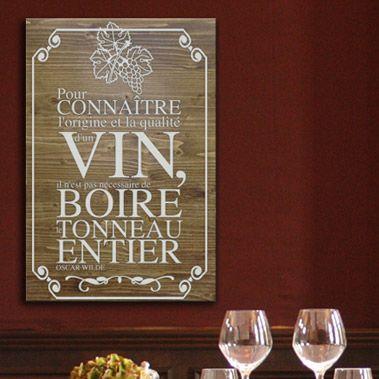 tableau citation en bois id al pour d corer votre cuisine salon cave vin restaurant. Black Bedroom Furniture Sets. Home Design Ideas