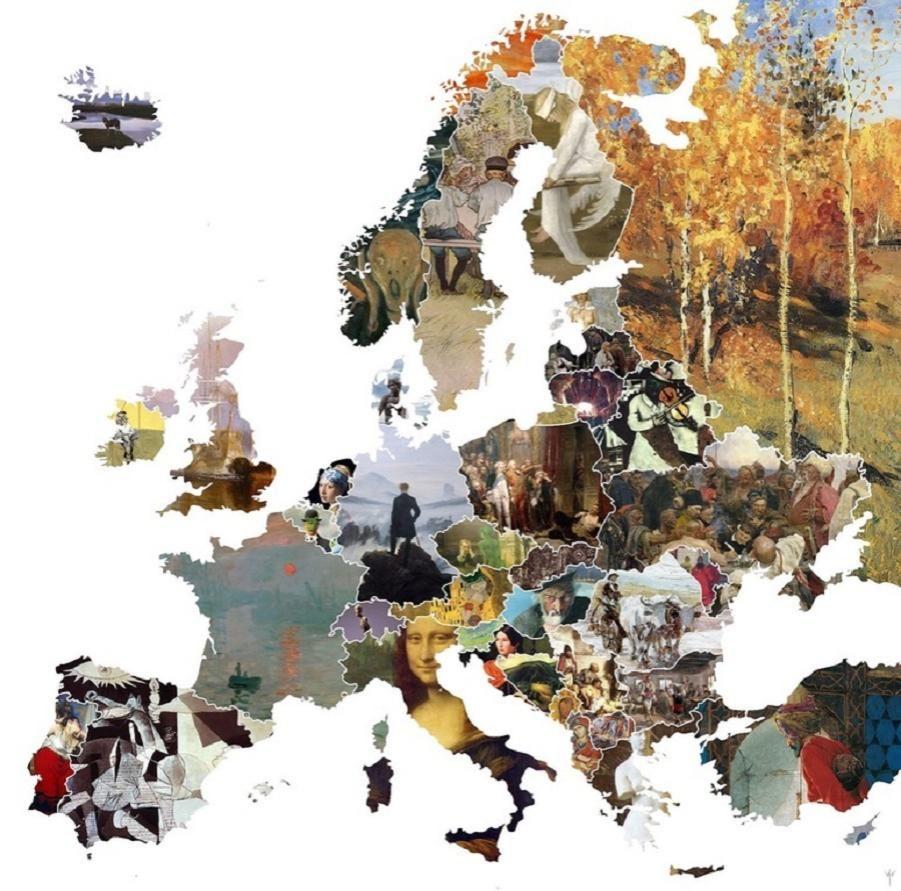 mapa najbardziej znanych obrazów w  Państwach Europy