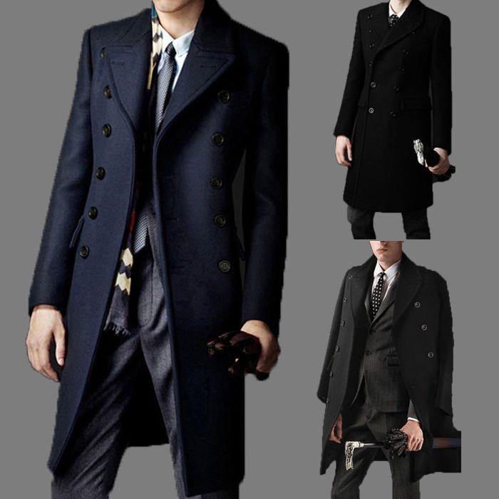 Men Slim Trench Coat Winter Outwear Long Jacket Double Breasted ...